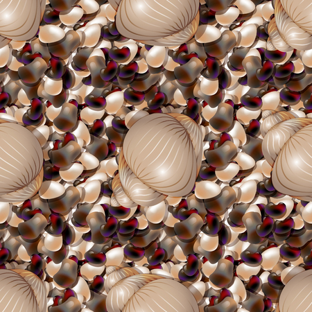 Ocean shore with colored sea stones. Sea pebble with shells seamless pattern of different shapes.