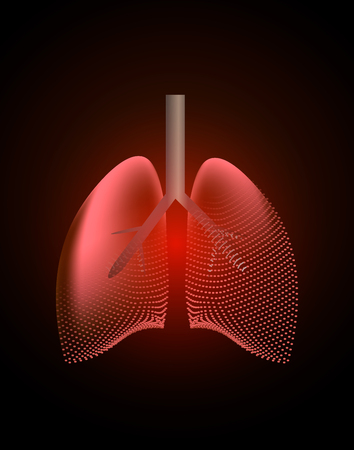 Lungs with a point of pain. Stylized transition from a real organ to an X-ray effect. Medical illustration of lung diseases. 10 eps