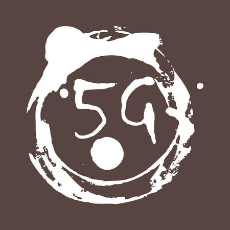 5g connection. Mobile technologies. Background with monochrome splashes of bright paint. Grunge style. 10 eps