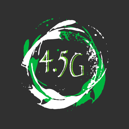 4.5g connection. The standard of communication in Mobile technologies. Background with splashes of bright paint. Grunge style. Illustration
