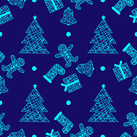 New Year Christmas winter holidays seamless pattern with gifts, gingerbread, christmas tree and toys 1