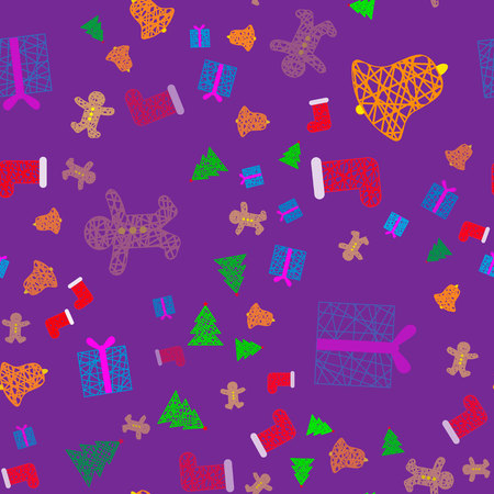 New Year Christmas winter holidays color seamless pattern with gifts, gingerbread, christmas tree and toys 10