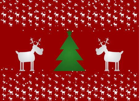 Cristmas Funny Deer and Cristmas tree. Red Background with snow 10 eps Ilustracja