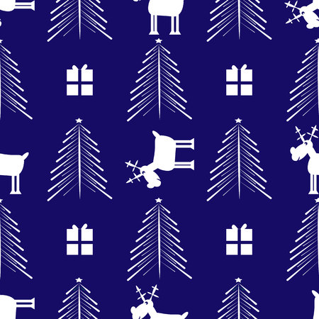 Cristmas Funny Deer, gift and Cristmas tree. New Year seamless pattern 10 eps