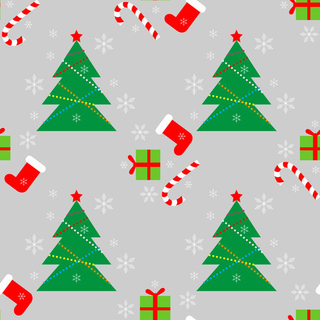 New Year Christmas winter holidays color seamless pattern with gifts, candy, christmas tree and snowflakes 10 eps
