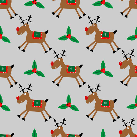 Merry Christmas seamless pattern with fanny deer and Holly 10 eps
