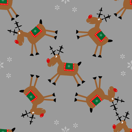 Merry Christmas seamless pattern with fanny deer and snowflakes 10 eps Ilustracja
