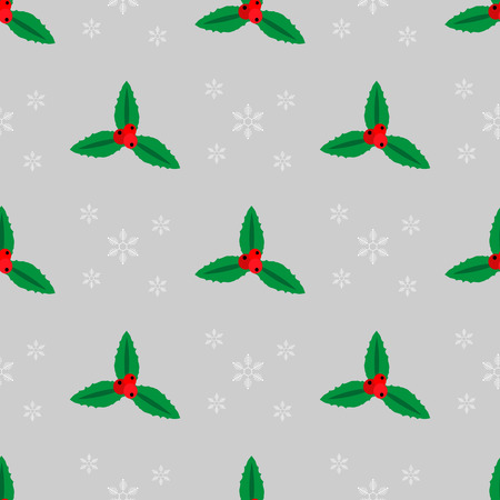 Merry Christmas seamless pattern with Holly and snowflakes 10 eps