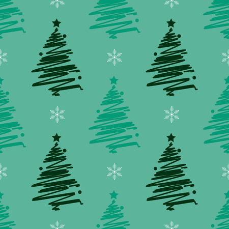 New Year Christmas winter holidays seamless pattern with green christmas tree and snowflake 10 eps