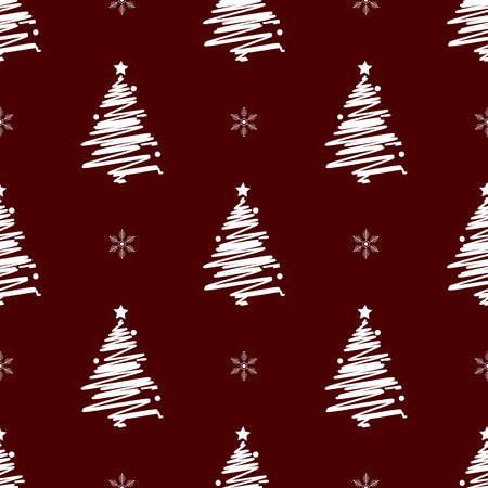 New Year Christmas winter holidays seamless pattern with White christmas tree 10 eps