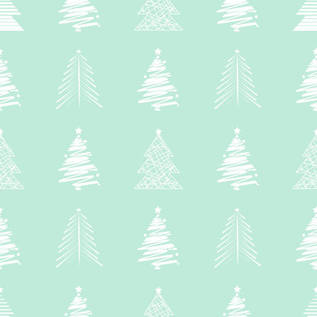 New Year Christmas seamless pattern with christmas tree 10 eps
