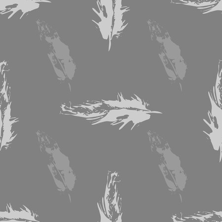 Vector Gray Grunge bird feathers seamless pattern 10 eps
