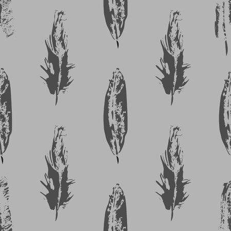 Vector Grunge bird feathers seamless pattern on Gray background 10 eps