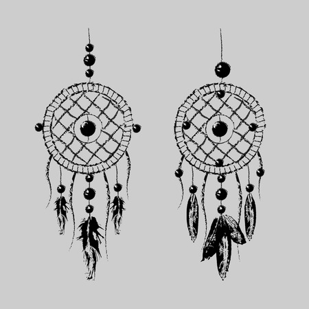 Grunge Dreamcatcher with feathers and branches. Sweet dream. Native American Indian talisman. Boho design, tattoo art. 10 eps