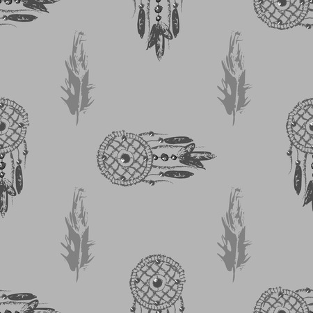 Grunge Dreamcatcher with feathers. Native American Indian talisman. Seamless pattern 10 eps
