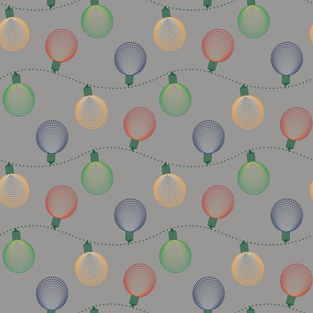Christmas seamless pattern with ball electric garland. New Year print 10 eps