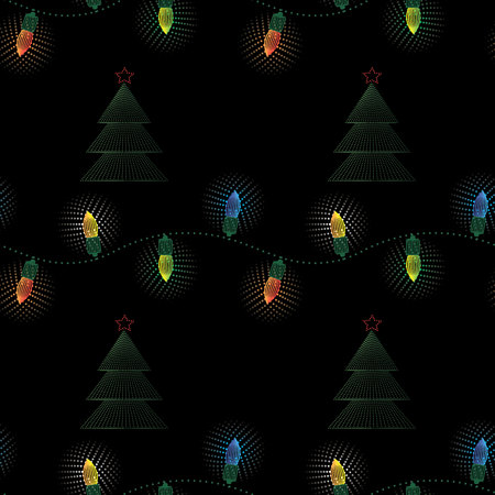 Christmas electric garland seamless pattern . New Year print 10 eps Ilustracja
