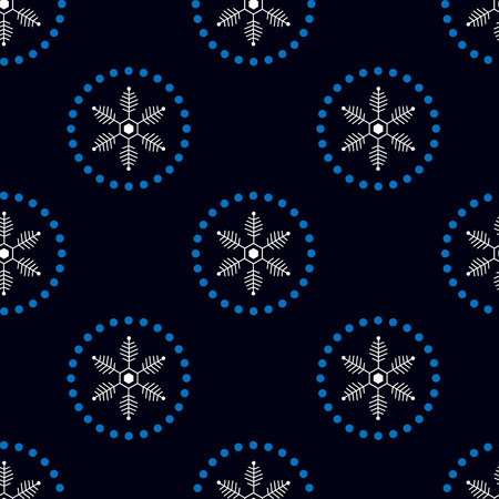 Christmas seamless doodle pattern with snowflakes. New Year print 10 eps