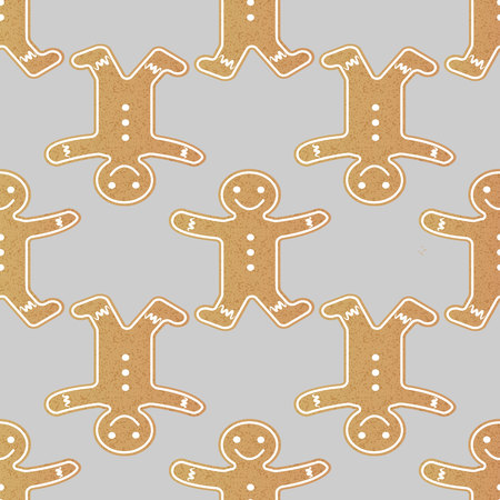 gingerbread man seamless pattern. isolated on gray background 10 eps