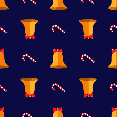 Christmas seamless pattern with bell and candy. New Year print 10 eps