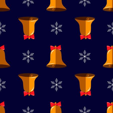 New Year print. Christmas seamless pattern with bell and snowflake 10 eps