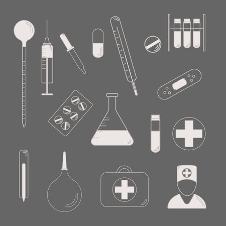 Medical Character Set. lat design style. Medical symbols silhouette. 10 eps Stock Illustratie