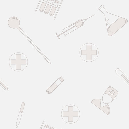 seamless pattern of medical laboratory symbols. Flat design. health icon 10 eps