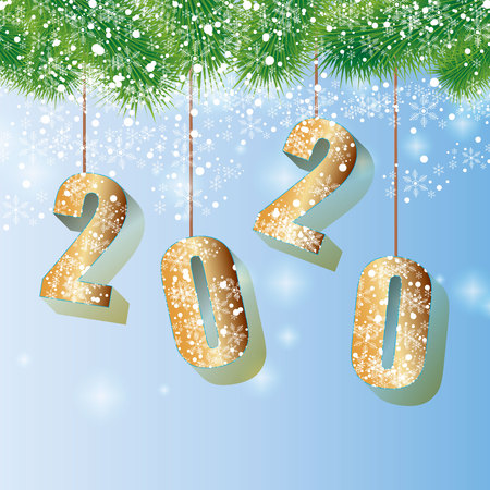 Happy 2020 New Year card with fir branch 10 eps Ilustracja