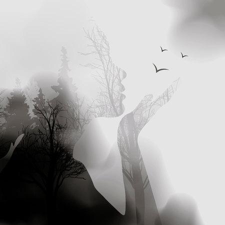 추상 여자 얼굴 실루엣입니다. 잉크 효과 숲 배경입니다. 벡터 이중 노출 그림입니다. 여자 얼굴과 내부의 아름다운 자연 풍경입니다. 숲의 안개. 10eps