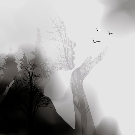 abstract Woman face silhouette. ink effect Forest background.Vector double exposure illustration.Woman face and beautiful nature landscape inside. fog in the forest. 10eps Çizim