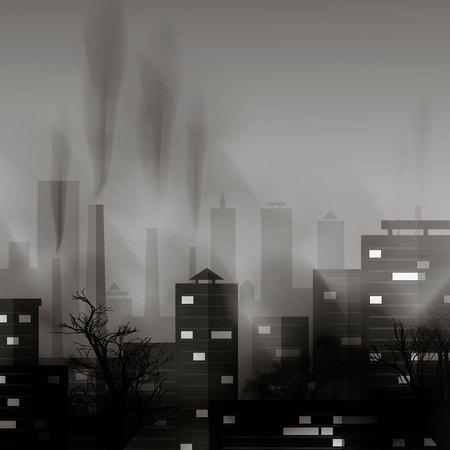 Smog polluted urban landscape. Highly polluted city with factory plants smoking towers and pipes. 10 eps Ilustracja