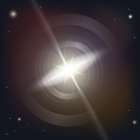 Neutron star makes radiation ray waves in the deep universe. Blitzar. Pulsar. Vector illustration 10eps