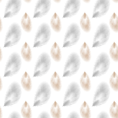 seamless feather pattern. Seamless background with feathers of bird. 10 eps