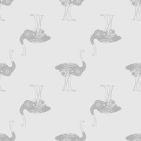 Seamless pattern. Ostrich bird. monochrome Graphic animal illustration 10 eps Illustration
