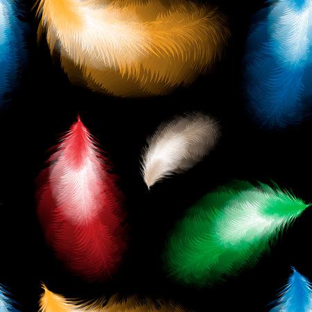 colored seamless feather pattern on black background. Seamless pattern with feathers of bird. 10 eps Ilustracja