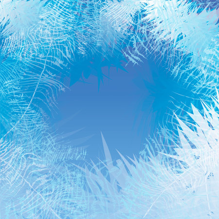 Winter frosted window background. Freeze and wind at the glass. 10 eps Stok Fotoğraf - 114903504
