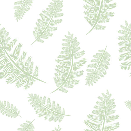 Fern frond silhouettes seamless pattern. Floral print. 10 eps
