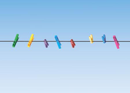 Farbige Wäscheklammern an einem Wäscheleinenseil. 10 eps