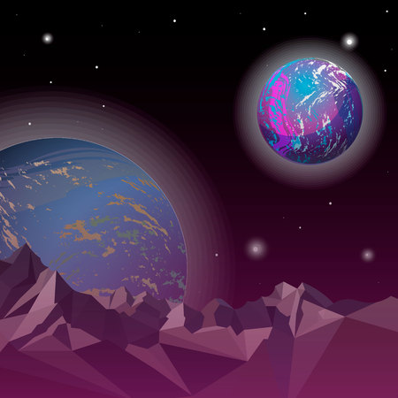 Distant world in space.Empty Planet in Open Space. Vector Illustration10 eps