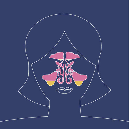 sinusitis disease, vector nose illustration, sinus anatomy, human respiratory system 10 eps
