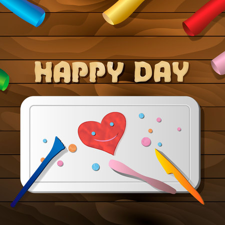 The product is a smiling heart of plasticine on the board for crafts on a wooden table, the text happy day and stacks. Clay effect 10 eps