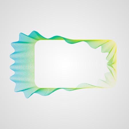 Neon Wavy bright gradient rectangular frame. Stylized Guilloche Element 10 eps