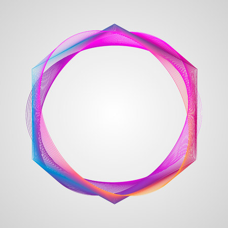 Neon Stylized Guilloche Element. Circle bright gradient frame 10 eps