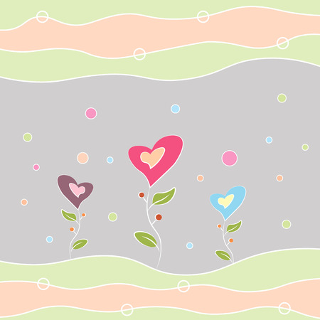Greeting card happy birthday, Valentine s Day and other holidays multi-colored flowers in the shape of a heart 10 eps Vectores