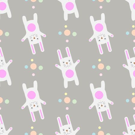 Funny cartoon white rabbit Gentle print. Seamless pattern. 10 eps