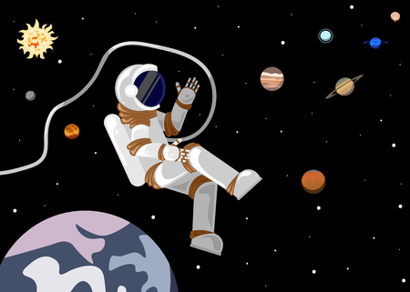 Flat style astronaut in open space in the solar system