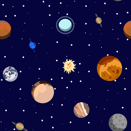 Cartoon solar system planets. Astronomical observatory small planet pluto, venus mercury neptune uranus Seamless pattern Illustration