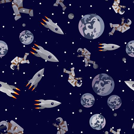 Seamless pattern Rocket and astronaut flies near the planet Earth Vektoros illusztráció