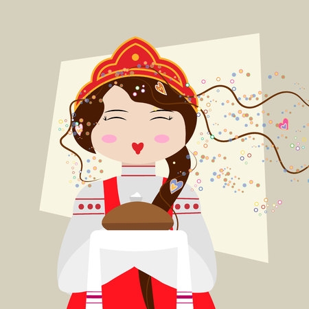 Russian girl in traditional suit with bread and salt. Slavic girl welcomes 10 eps