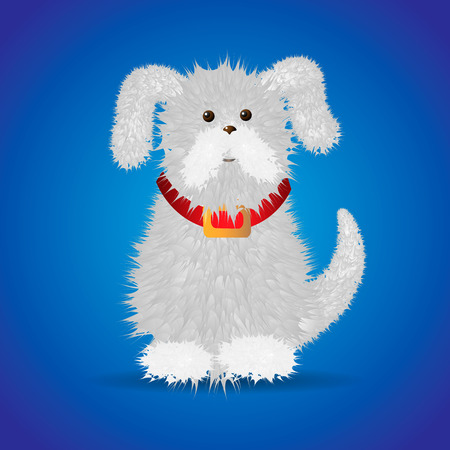 cute funny cartoon white fluffy dog in a red collar Vector Illustration